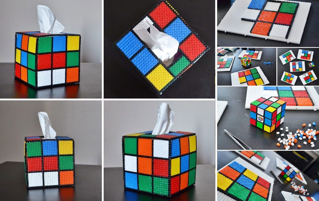 Boite à mouchoir Rubiks Cube (Perle Hama)