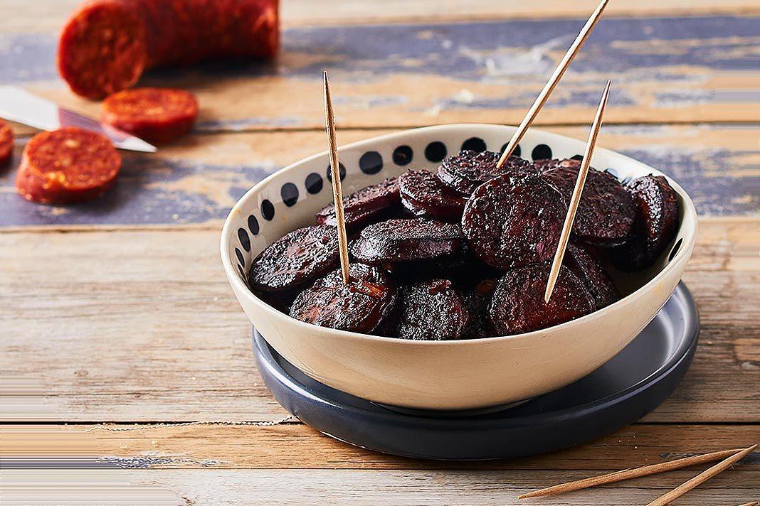 Recette Tapas ! Chorizo mariné au vin rouge